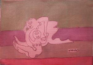 Duet-009, silk painting by Nguyen Thi Mai