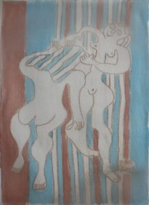 Duet-055, silk painting by Nguyen Thi Mai