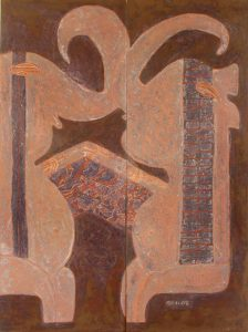 Elephant Talk, an unpolished lacquer painting by Nguyen Thi Mai