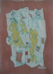 Ensemble-017, silk painting by Nguyen Thi Mai