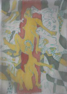 Ensemble-019, silk painting by Nguyen Thi Mai