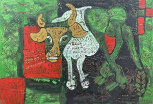 February Ox, acrylic painting by Nguyen Thi Mai