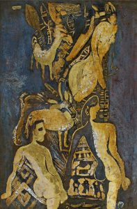 Girls & Deers, a lacquer painting by Nguyen Thi Mai