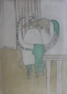 Green Buffalo, silk painting by Nguyen Thi Mai