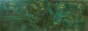 Green Horses, an unpolished lacquer painting by Nguyen Thi Mai