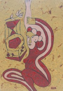 Her Chair 26, an acrylic on canvas painting by Nguyen Thi Mai