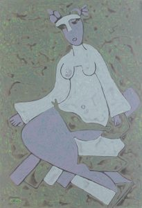Her Chair 30, an acrylic on canvas painting by Nguyen Thi Mai
