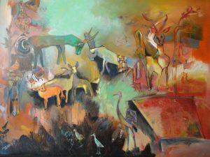 """Nguyen Thi Mai """"Wilde Tiere"""" (Acryl auf Leinwand, 2008)"""