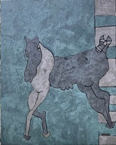 Lady Horse, an acrylic painting by Nguyen Thi Mai