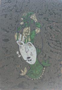Lady Smoker, an acrylic on canvas painting by Nguyen Thi Mai