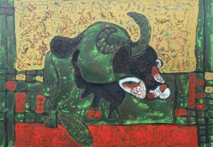 November Ox, acrylic painting by Nguyen Thi Mai