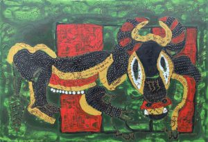 October Ox, acrylic painting by Nguyen Thi Mai
