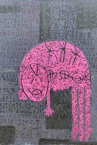 Pink Gollum, acrylic painting by Nguyen Thi Mai