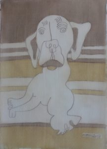 Pooch 028, silk painting by Nguyen Thi Mai
