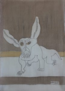 Pooch 033, silk painting by Nguyen Thi Mai