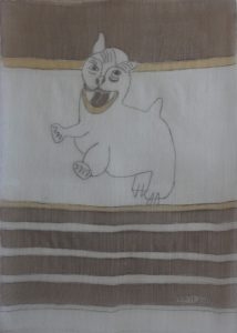 Pooch 036, silk painting by Nguyen Thi Mai