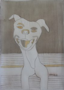 Pooch 047, silk painting by Nguyen Thi Mai