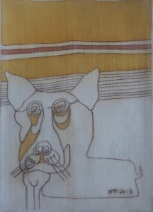 Pooch 053, silk painting by Nguyen Thi Mai