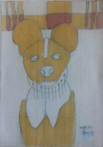 Pooch 054, silk painting by Nguyen Thi Mai