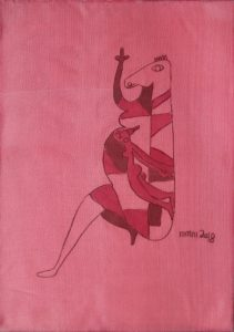 Pregnant 02, silk painting by Nguyen Thi Mai