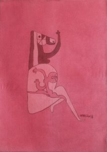 Pregnant 19, silk painting by Nguyen Thi Mai