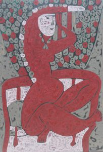Red Chair, an acrylic on canvas painting by Nguyen Thi Mai