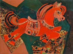 Red Horse, a lacquer painting by Nguyen Thi Mai