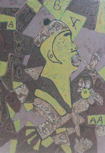 Scrawny, an acrylic painting by Nguyen Thi Mai