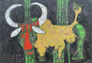 September Ox, acrylic painting by Nguyen Thi Mai